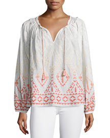 Priata Degrade-Embroidered Top, White Pattern