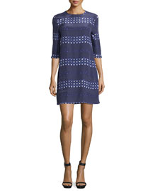 Aubrey Geometric-Striped Dress, Ultra Marine