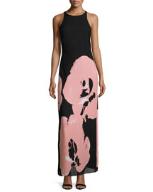 Sleeveless Orchid-Print Maxi Dress, Black/Parfait
