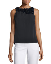 Sleeveless Draped-Back Top with Paillettes