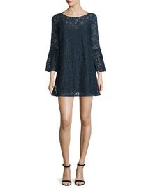 Glorietta 3/4-Sleeve Lace Dress, Navy