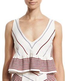 Annaline Striped Crop Top, Multi Colors