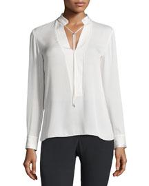 Long-Sleeves Georgette Top w/ Cord Ties