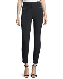 Slim-Fit Slit-Back Pants with Charmeuse Trim