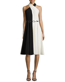 Sleeveless Crisscross-Neck Colorblock Dress, Black/Eggshell