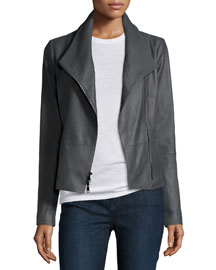 Lined Leather Scuba Jacket, Iron