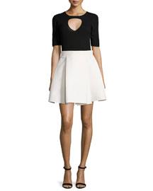 Half-Sleeve Twofer Colorblock Dress