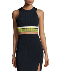 Sheridan Ribbed Sleeveless Crop Top, Navy