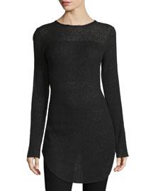Marisol Long-Sleeve Ribbed Tunic, Black