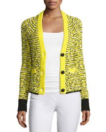 Viola Striped Cotton-Blend Cardigan, Yellow