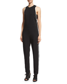 Luna Sleeveless Stretch-Knit Jumpsuit, Black