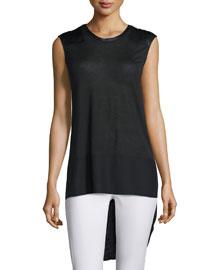 Riley Sleeveless Silk-Blend Top, Black