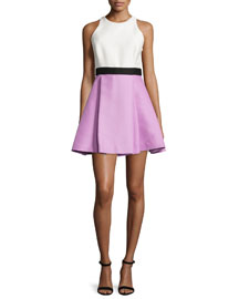 Sleeveless Colorblock Fit & Flare Dress