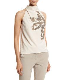 Sleeveless Mock-Neck Embellished Top, Oyster/Gold