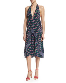 Leyland Zen Floral Halter Dress, Midnight