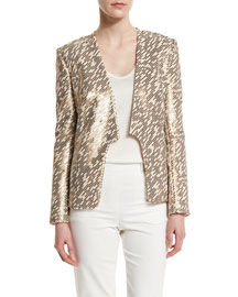 Long-Sleeve Allover Embellished Jacket, Oyster/Gold