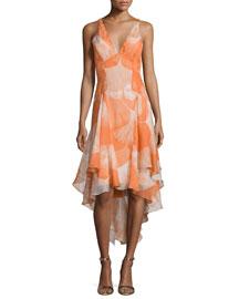 Sleeveless V-Neck High-Low Dress, Terracotta