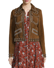 Blaine Studded Suede Jacket, Tobacco