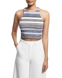 Sleeveless Racerback Striped Crop Top, Thistle/Multi