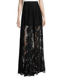 Lucrenzia High-Waist Lace Maxi Skirt, Black