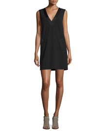 Phoebe Sleeveless Crepe Dress, Black