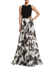 Sleeveless Floral Jacquard Ball Gown