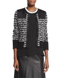 Viola Cotton-Blend Sweater Jacket, Black