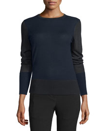 Sabine Mixed-Knit Pullover Sweater, Salute