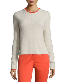 Liliana Tipped Cashmere Pullover Sweater, Oat