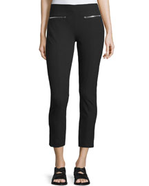 Annie Cropped Zip-Trim Pants, Black