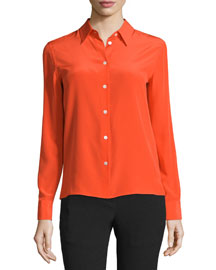 Poppy Silk Button-Front Shirt, Sunburst