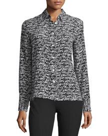 Poppy Abstract-Print Silk Shirt, Black Fleck