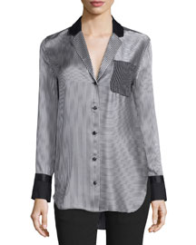 Farah Silk Charmeuse Striped Blouse, Black/White