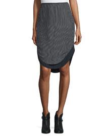 Madison Striped Silk Pencil Skirt, Black/White