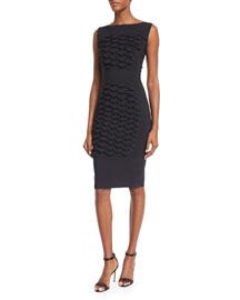 Sleeveless Fish Scale Textured Sheath Dress, Black