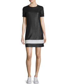 Valerie Mesh Mini Dress, Black/White