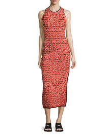 Viola Ruched Printed Sheath Dress, Red
