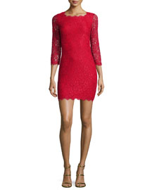 Zarita Lace Sheath Dress, Red