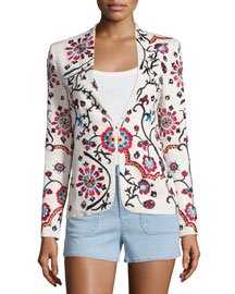 Juliet Floral Embroidered Jacket, White/Multicolor