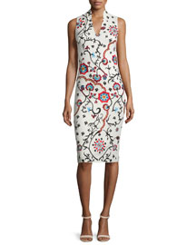 Jacki Sleeveless Embroidered Sheath Dress, White/Multicolor