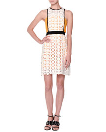 Sleeveless Macrame A-Line Dress, White