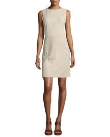 Whipstitch Nubuck Leather Sleeveless Dress