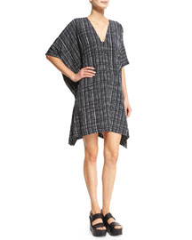 Interlace-Printed V-Neck Poncho Dress