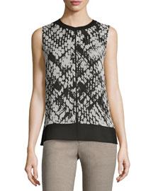 Basketweave-Print Double-Layer Silk Top