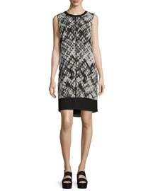 Basketweave-Print Popover Silk Dress