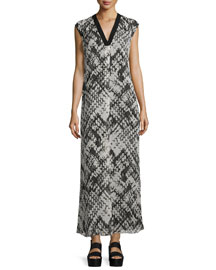 Basketweave-Printed Silk Maxi Dress