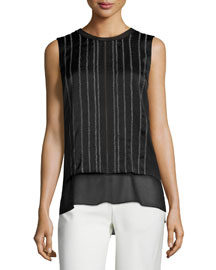 Embroidered Double-Layer Sleeveless Top