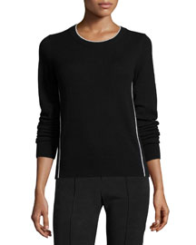 Contrast Tipping Crewneck Sweater