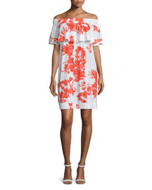 Dara Off-the-Shoulder Floral-Print Dress, Blossom Rose
