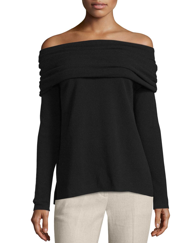 Vince High Twist Off-The-Shoulder Cashmere Sweater, Size: XS, Black